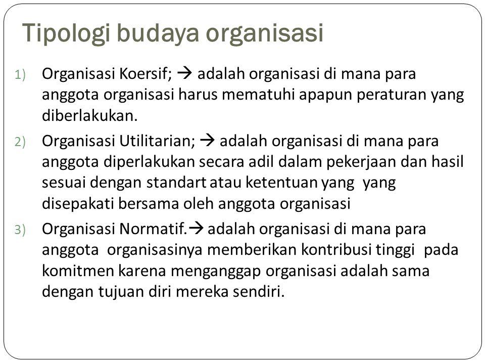 Tipologi budaya organisasi 1) Organisasi Koersif;  adalah organisasi di mana para anggota organisasi harus mematuhi apapun peraturan yang diberlakukan.