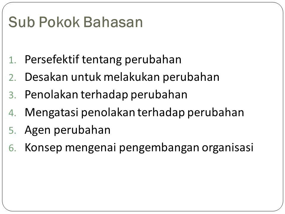Sub Pokok Bahasan 1. Persefektif tentang perubahan 2. Desakan untuk melakukan perubahan 3. Penolakan terhadap perubahan 4. Mengatasi penolakan terhada