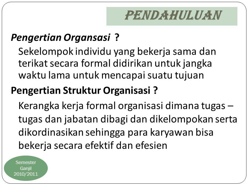 Pendahuluan Semester Ganjil 2010/2011 Pengertian Organsasi ? Sekelompok individu yang bekerja sama dan terikat secara formal didirikan untuk jangka wa