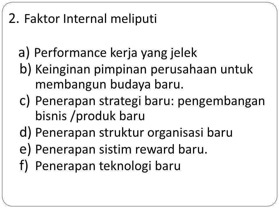 2. Faktor Internal meliputi a) Performance kerja yang jelek b) Keinginan pimpinan perusahaan untuk membangun budaya baru. c) Penerapan strategi baru: