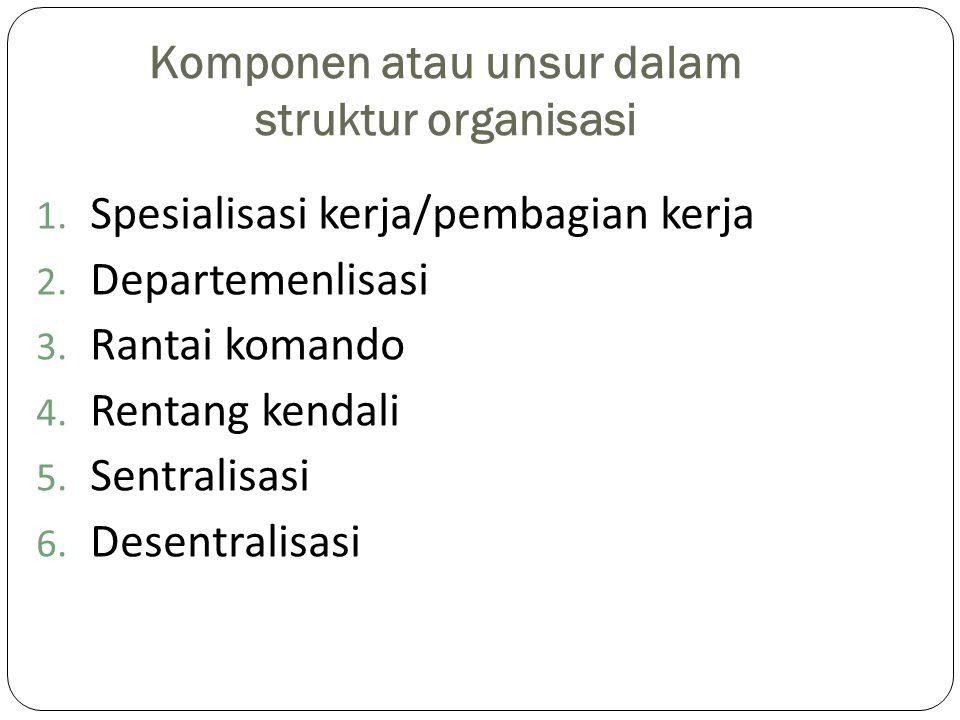 Komponen atau unsur dalam struktur organisasi 1. Spesialisasi kerja/pembagian kerja 2. Departemenlisasi 3. Rantai komando 4. Rentang kendali 5. Sentra