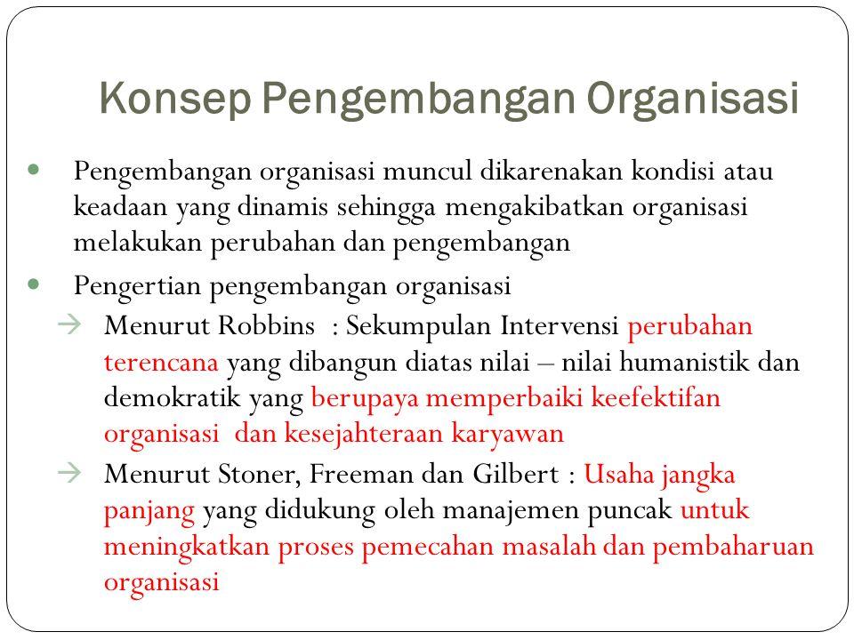 Konsep Pengembangan Organisasi Pengembangan organisasi muncul dikarenakan kondisi atau keadaan yang dinamis sehingga mengakibatkan organisasi melakuka