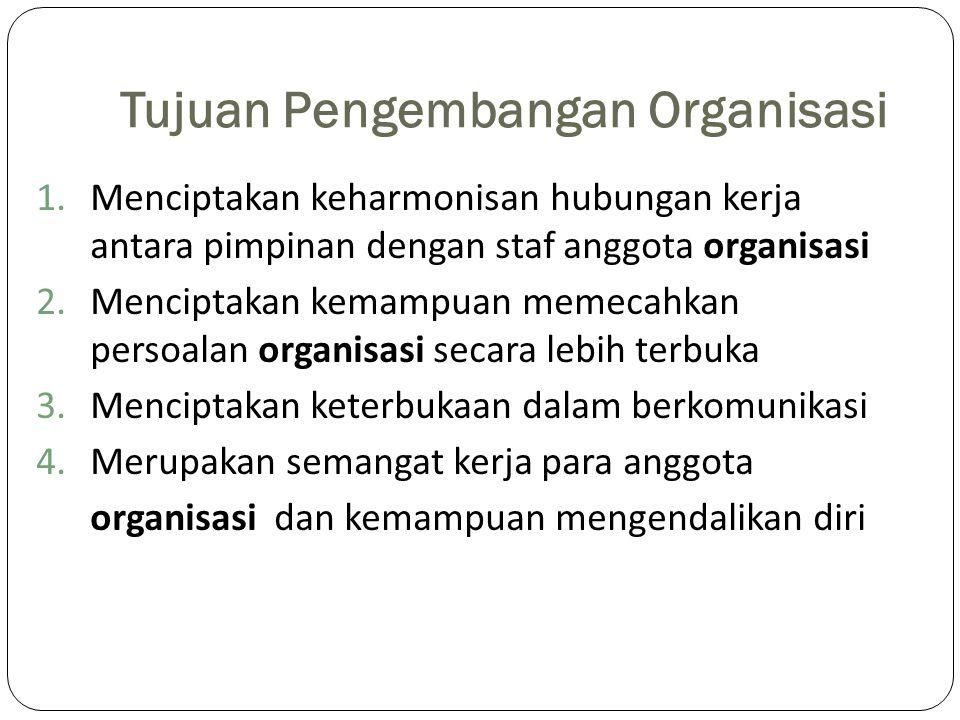 Tujuan Pengembangan Organisasi 1.Menciptakan keharmonisan hubungan kerja antara pimpinan dengan staf anggota organisasi 2.Menciptakan kemampuan memeca