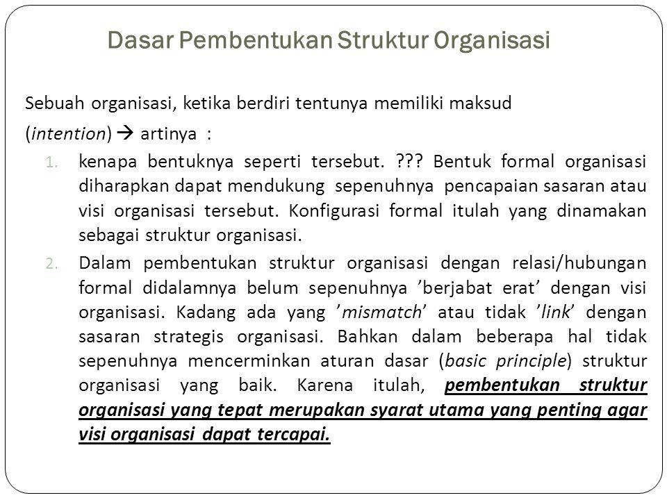 Dasar Pembentukan Struktur Organisasi Sebuah organisasi, ketika berdiri tentunya memiliki maksud (intention)  artinya : 1. kenapa bentuknya seperti t