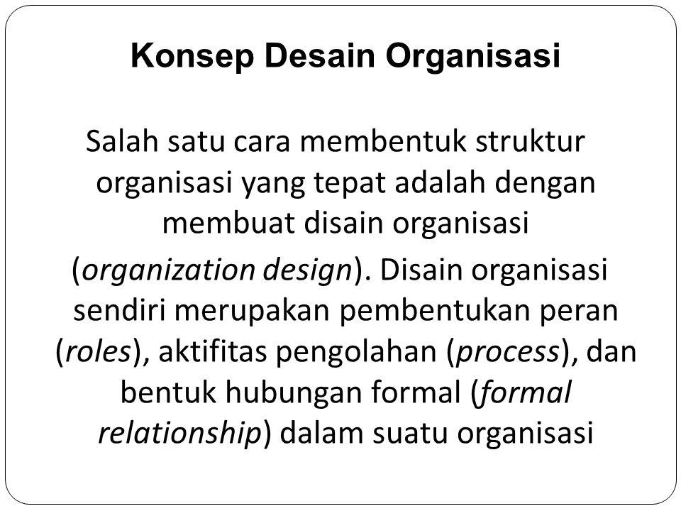 Salah satu cara membentuk struktur organisasi yang tepat adalah dengan membuat disain organisasi (organization design).