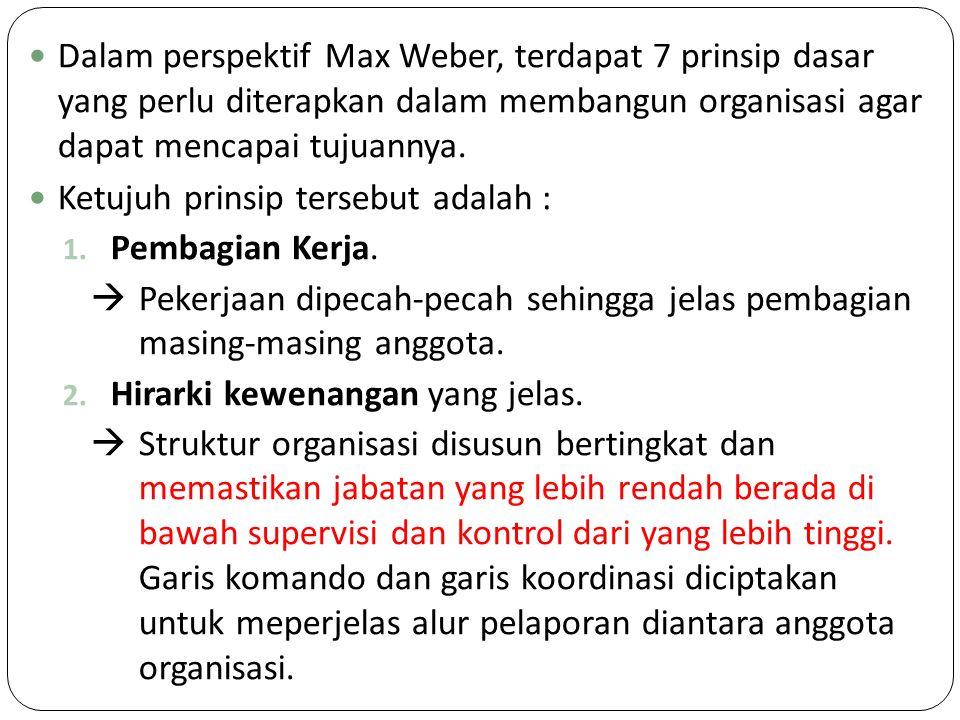 Dalam perspektif Max Weber, terdapat 7 prinsip dasar yang perlu diterapkan dalam membangun organisasi agar dapat mencapai tujuannya. Ketujuh prinsip t