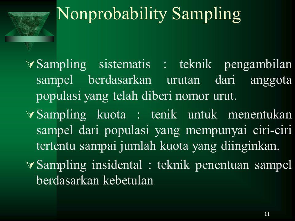 11 Nonprobability Sampling  Sampling sistematis : teknik pengambilan sampel berdasarkan urutan dari anggota populasi yang telah diberi nomor urut. 
