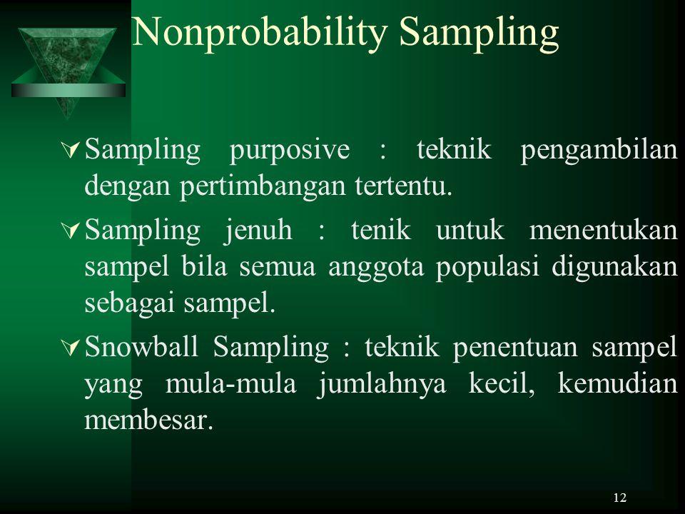 12 Nonprobability Sampling  Sampling purposive : teknik pengambilan dengan pertimbangan tertentu.  Sampling jenuh : tenik untuk menentukan sampel bi