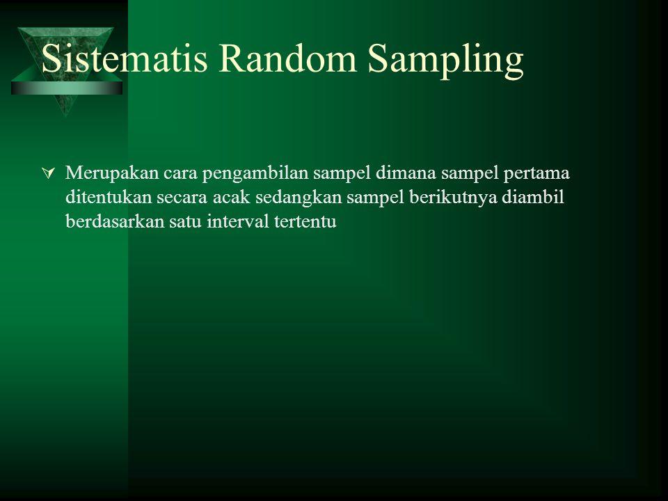Sistematis Random Sampling  Merupakan cara pengambilan sampel dimana sampel pertama ditentukan secara acak sedangkan sampel berikutnya diambil berdas