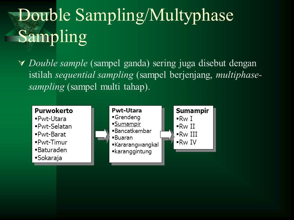 Double Sampling/Multyphase Sampling  Double sample (sampel ganda) sering juga disebut dengan istilah sequential sampling (sampel berjenjang, multipha