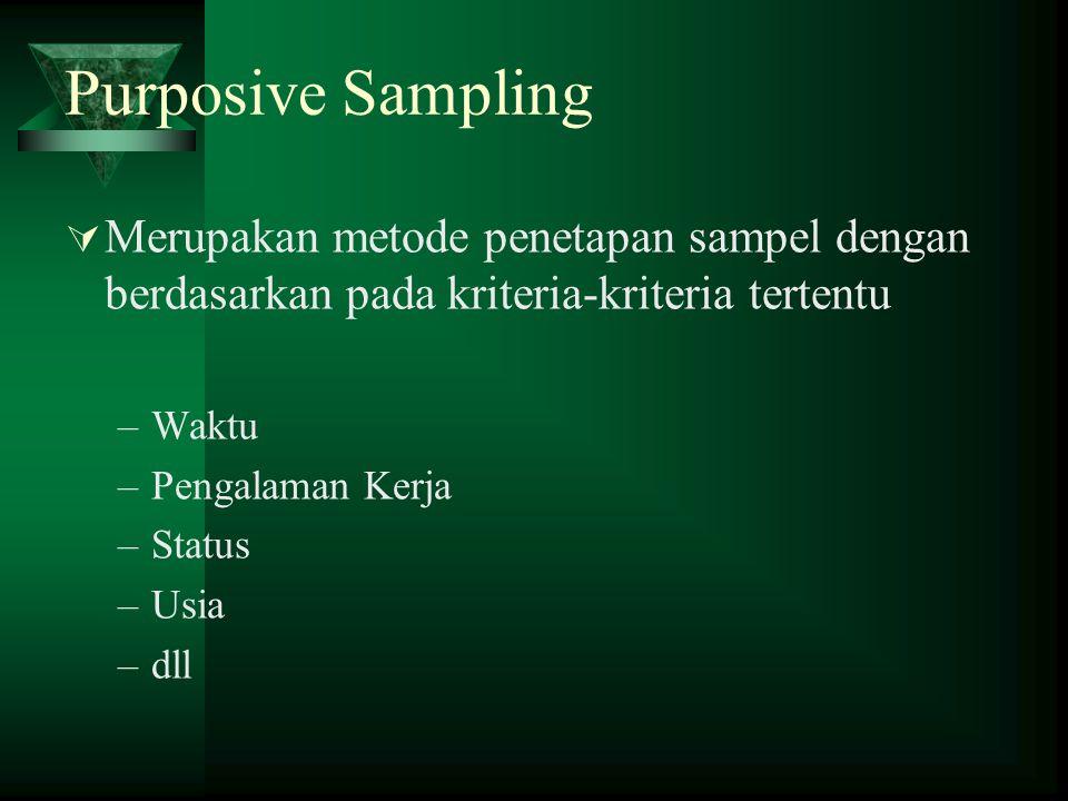 Purposive Sampling  Merupakan metode penetapan sampel dengan berdasarkan pada kriteria-kriteria tertentu –Waktu –Pengalaman Kerja –Status –Usia –dll
