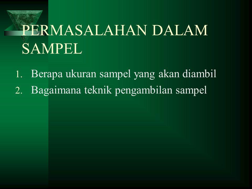 PERMASALAHAN DALAM SAMPEL 1. Berapa ukuran sampel yang akan diambil 2. Bagaimana teknik pengambilan sampel