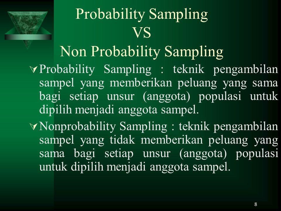 9 Probability Sampling  Simple random sampling : pengabilan anggota sampel dari populasi dilakukan secara acak tanpa memperhatikan strata yang ada dalam populasi tersebut.