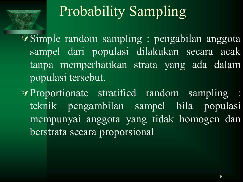 9 Probability Sampling  Simple random sampling : pengabilan anggota sampel dari populasi dilakukan secara acak tanpa memperhatikan strata yang ada da