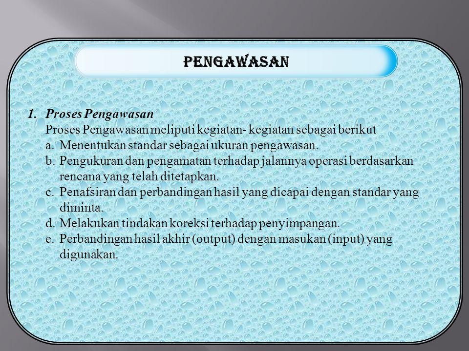 1.Proses Pengawasan Proses Pengawasan meliputi kegiatan- kegiatan sebagai berikut a.Menentukan standar sebagai ukuran pengawasan.