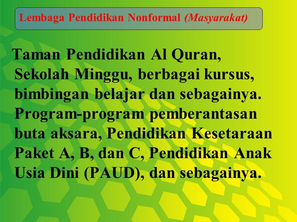 Taman Pendidikan Al Quran, Sekolah Minggu, berbagai kursus, bimbingan belajar dan sebagainya.
