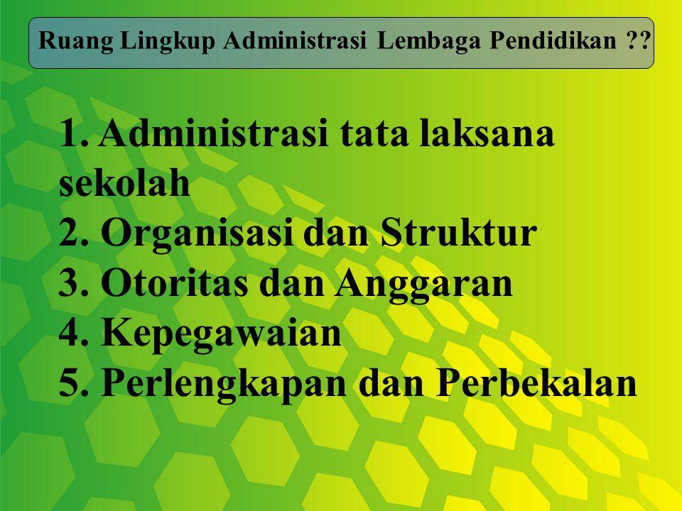 1. Administrasi tata laksana sekolah 2. Organisasi dan Struktur 3.