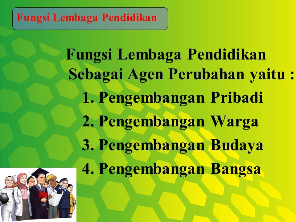 Fungsi Lembaga Pendidikan Sebagai Agen Perubahan yaitu : 1.