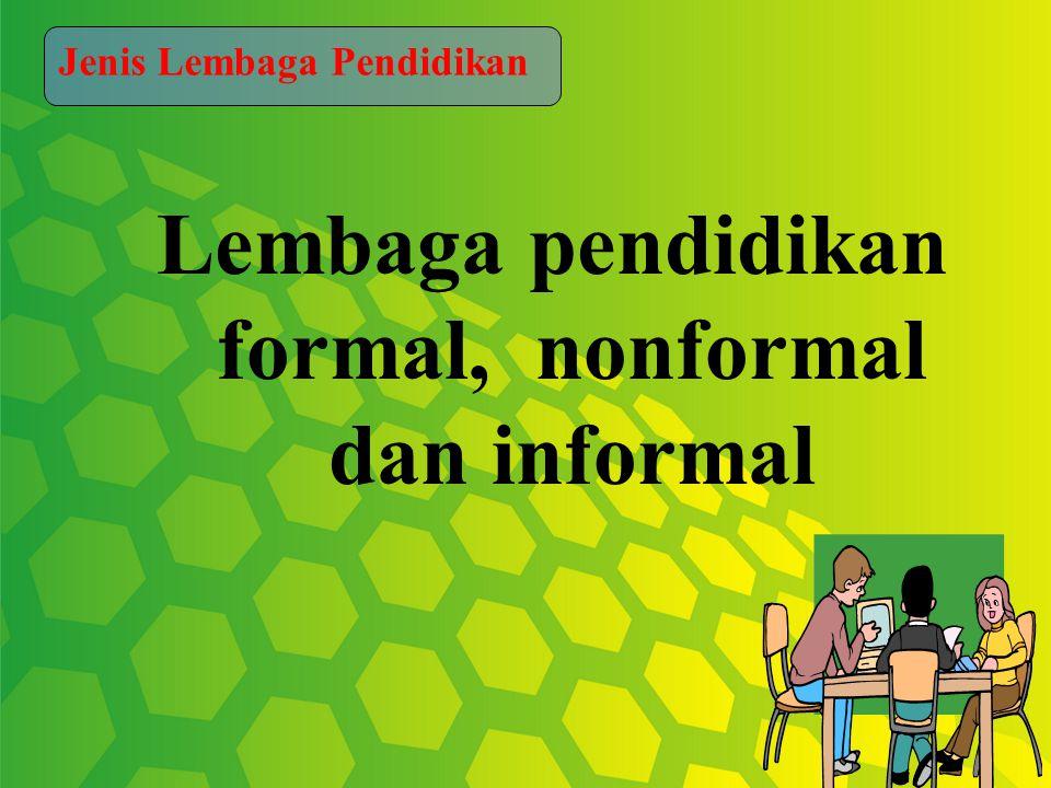 Lembaga pendidikan formal, nonformal dan informal Jenis Lembaga Pendidikan