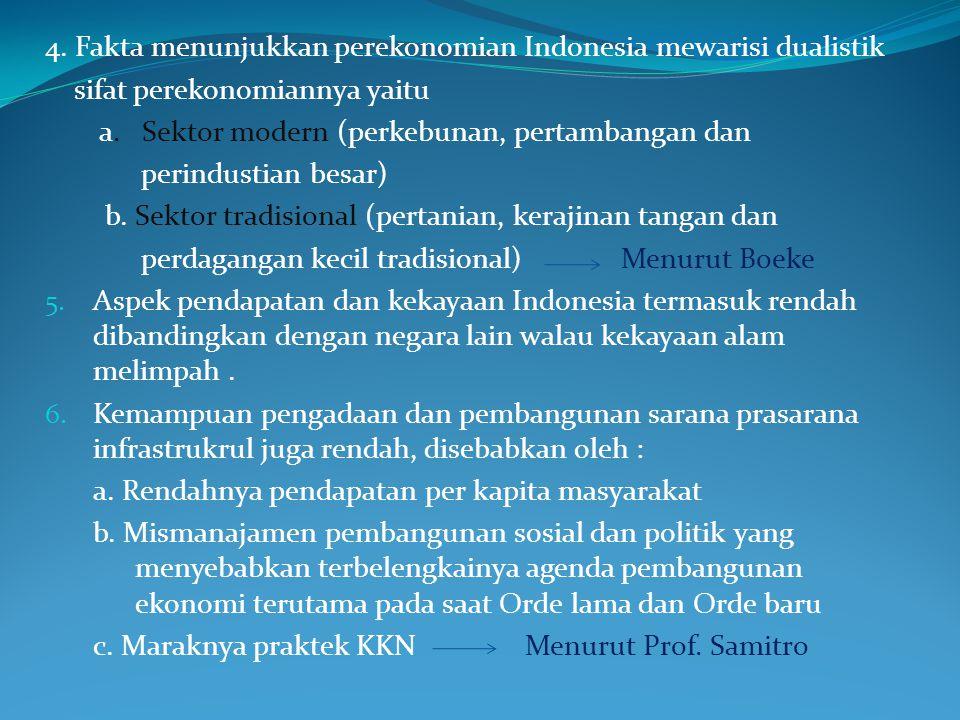 4.Fakta menunjukkan perekonomian Indonesia mewarisi dualistik sifat perekonomiannya yaitu a.