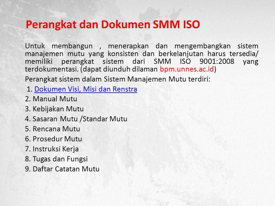 Perangkat dan Dokumen SMM ISO Untuk membangun, menerapkan dan mengembangkan sistem manajemen mutu yang konsisten dan berkelanjutan harus tersedia/ memiliki perangkat sistem dari SMM ISO 9001:2008 yang terdokumentasi.