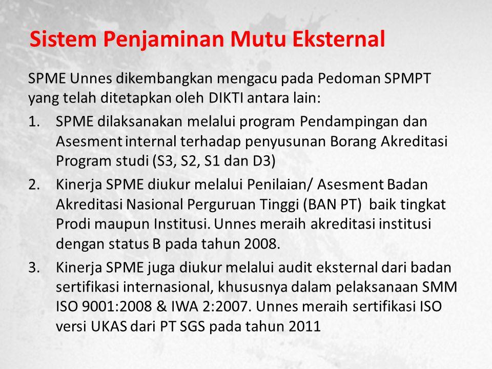 Sistem Penjaminan Mutu Eksternal SPME Unnes dikembangkan mengacu pada Pedoman SPMPT yang telah ditetapkan oleh DIKTI antara lain: 1.SPME dilaksanakan melalui program Pendampingan dan Asesment internal terhadap penyusunan Borang Akreditasi Program studi (S3, S2, S1 dan D3) 2.Kinerja SPME diukur melalui Penilaian/ Asesment Badan Akreditasi Nasional Perguruan Tinggi (BAN PT) baik tingkat Prodi maupun Institusi.