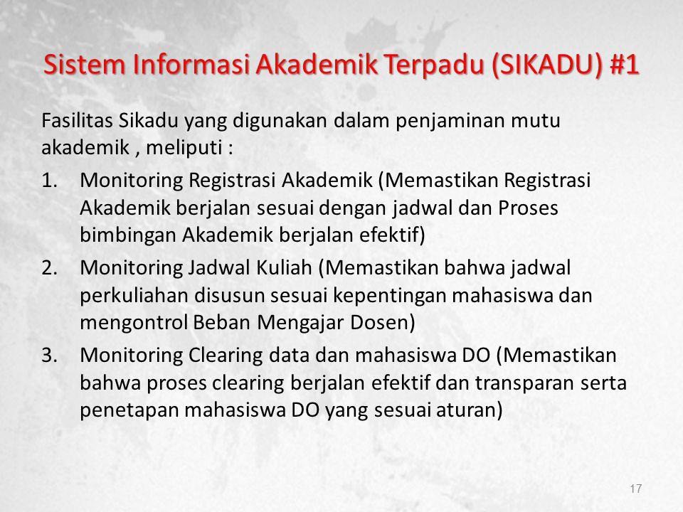 Sistem Informasi Akademik Terpadu (SIKADU) #1 Fasilitas Sikadu yang digunakan dalam penjaminan mutu akademik, meliputi : 1.Monitoring Registrasi Akade