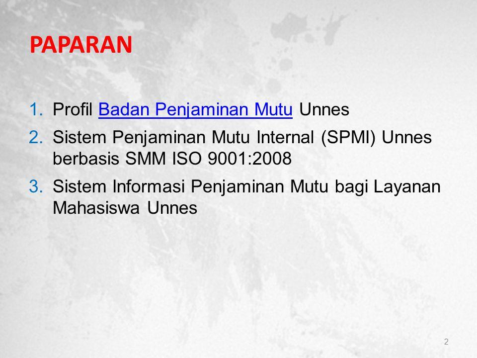 PAPARAN 1.Profil Badan Penjaminan Mutu UnnesBadan Penjaminan Mutu 2.Sistem Penjaminan Mutu Internal (SPMI) Unnes berbasis SMM ISO 9001:2008 3.Sistem I