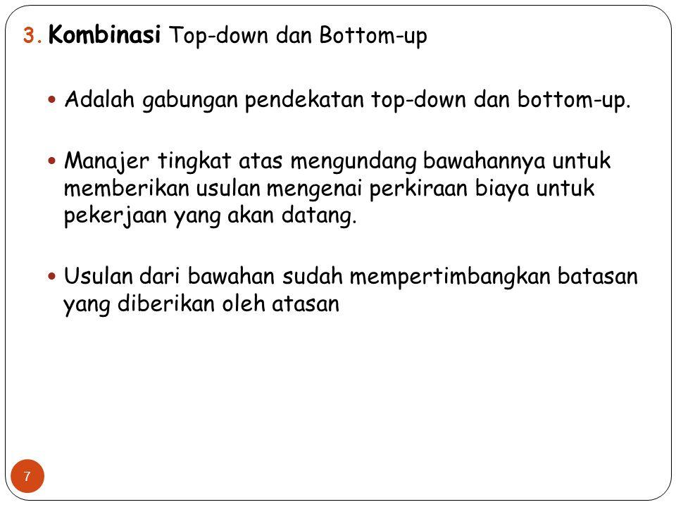 3. Kombinasi Top-down dan Bottom-up Adalah gabungan pendekatan top-down dan bottom-up. Manajer tingkat atas mengundang bawahannya untuk memberikan usu