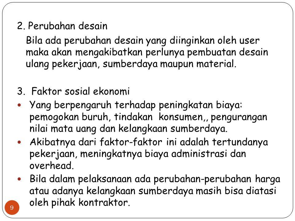 2. Perubahan desain Bila ada perubahan desain yang diinginkan oleh user maka akan mengakibatkan perlunya pembuatan desain ulang pekerjaan, sumberdaya