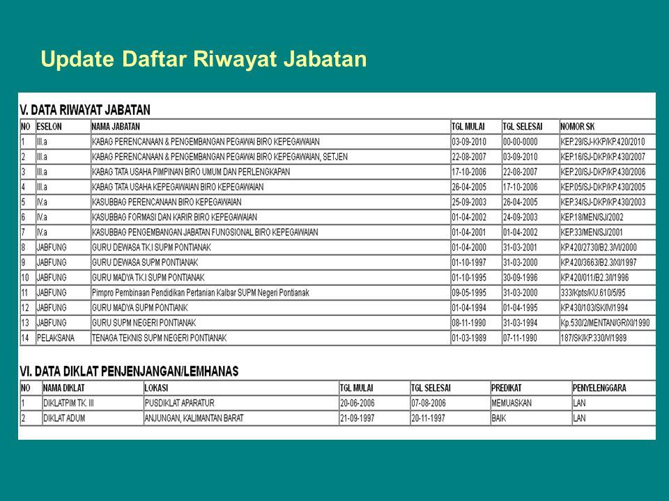 Update Daftar Riwayat Jabatan