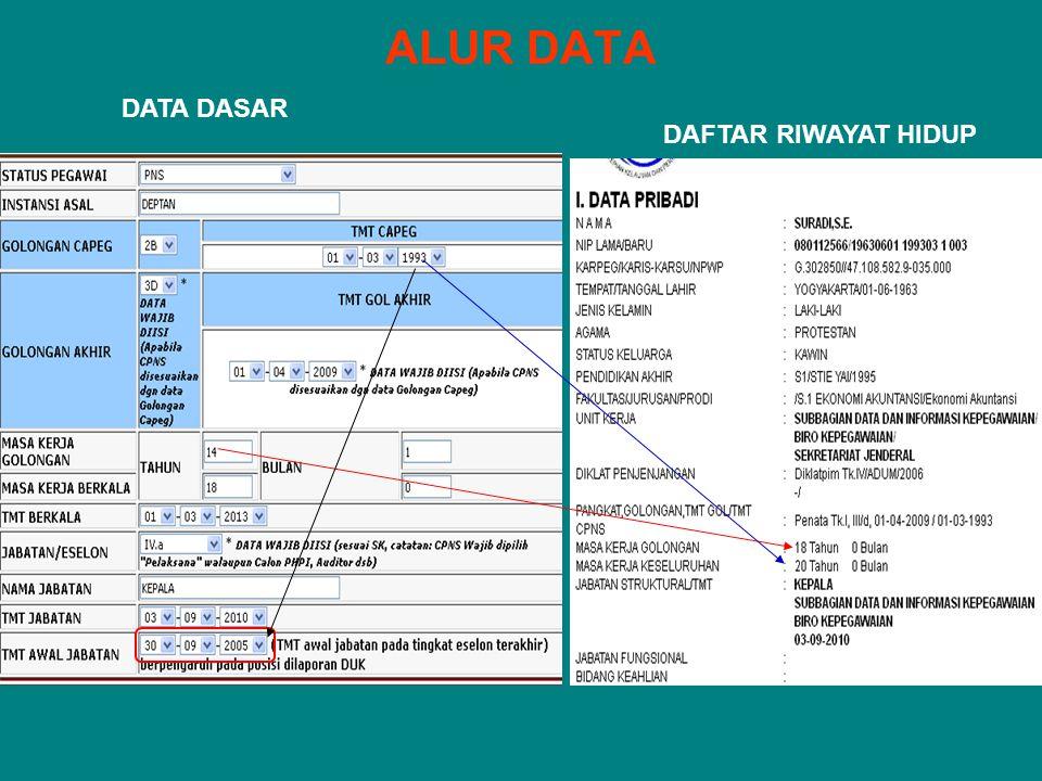 ALUR DATA DAFTAR RIWAYAT HIDUP DATA DASAR
