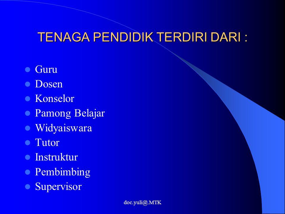 TENAGA PENDIDIK TERDIRI DARI : Guru Dosen Konselor Pamong Belajar Widyaiswara Tutor Instruktur Pembimbing Supervisor