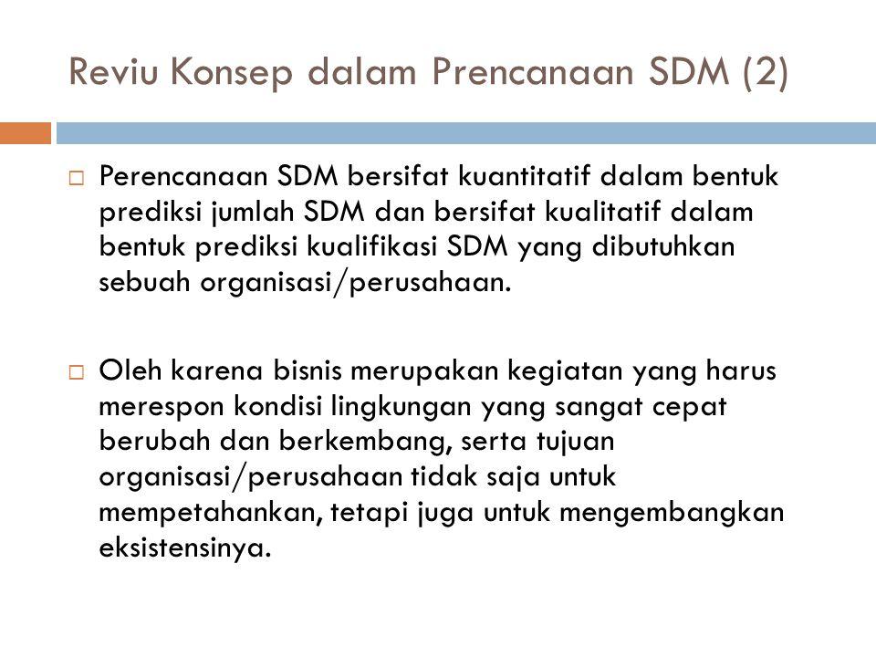 Reviu Konsep dalam Prencanaan SDM (2)  Perencanaan SDM bersifat kuantitatif dalam bentuk prediksi jumlah SDM dan bersifat kualitatif dalam bentuk prediksi kualifikasi SDM yang dibutuhkan sebuah organisasi/perusahaan.
