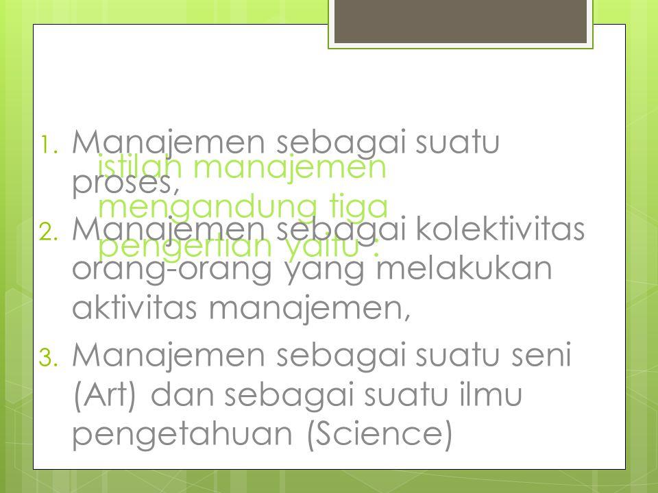 istilah manajemen mengandung tiga pengertian yaitu : 1. Manajemen sebagai suatu proses, 2. Manajemen sebagai kolektivitas orang-orang yang melakukan a