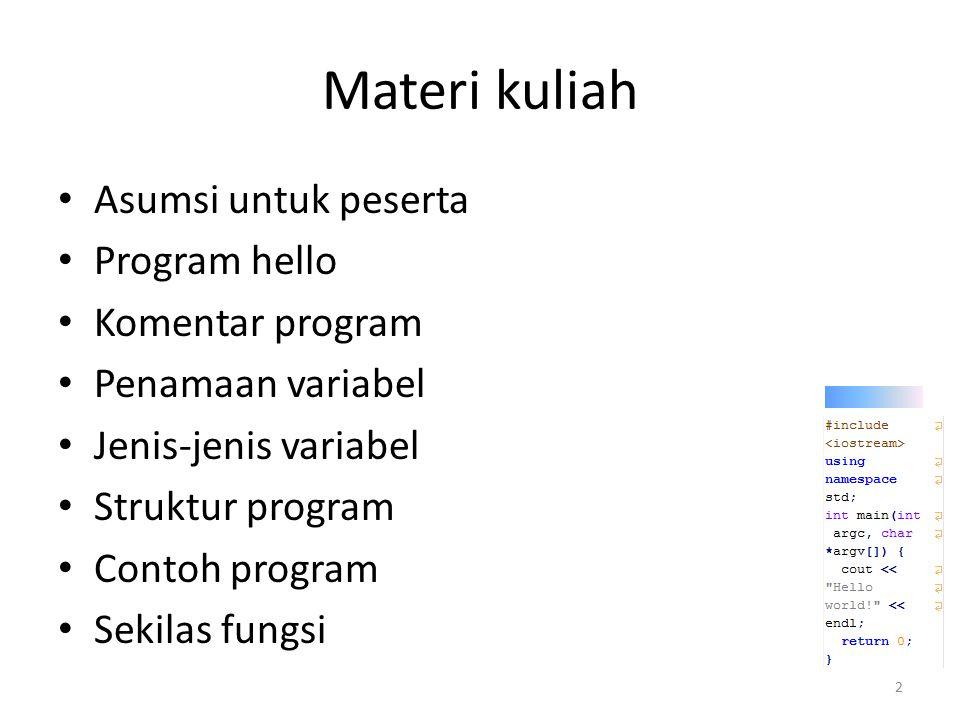 Materi kuliah Asumsi untuk peserta Program hello Komentar program Penamaan variabel Jenis-jenis variabel Struktur program Contoh program Sekilas fungs