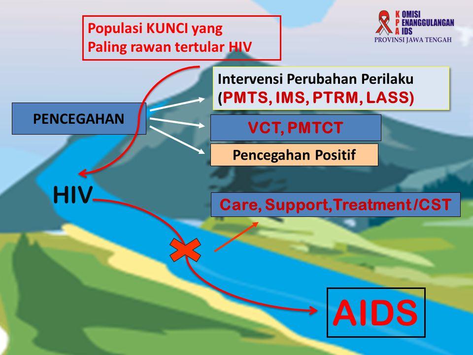 Populasi KUNCI yang Paling rawan tertular HIV Intervensi Perubahan Perilaku ( PMTS, IMS, PTRM, LASS) Intervensi Perubahan Perilaku ( PMTS, IMS, PTRM,