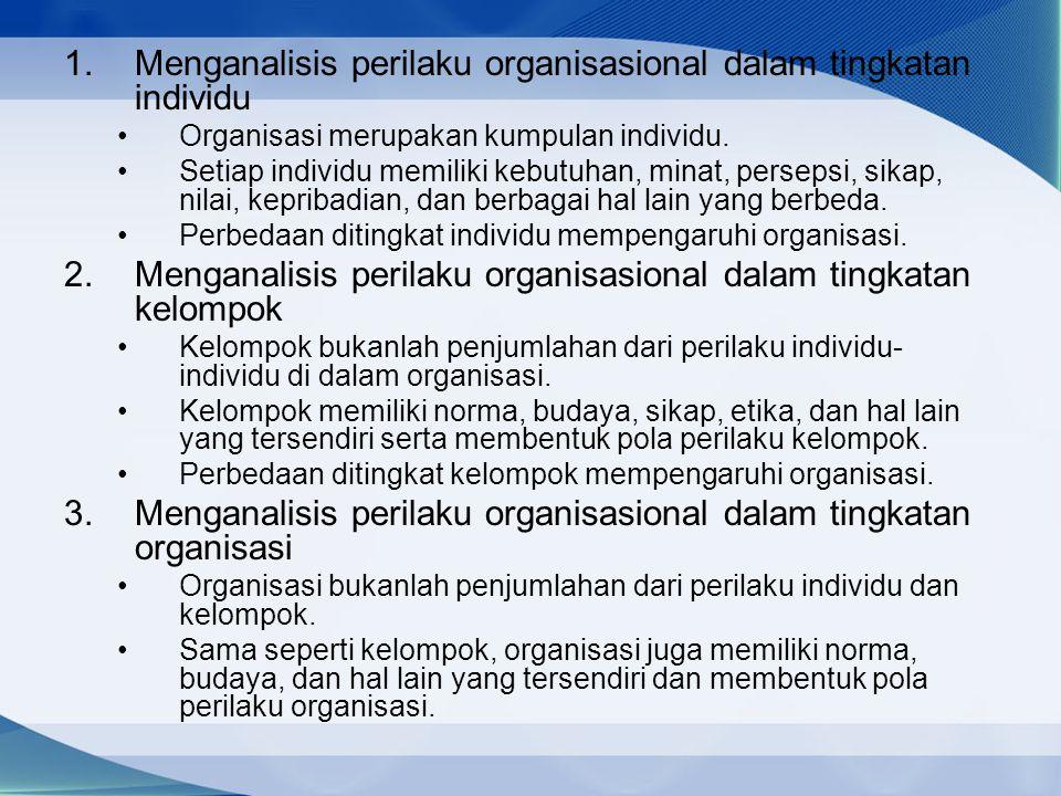 1.Menganalisis perilaku organisasional dalam tingkatan individu Organisasi merupakan kumpulan individu. Setiap individu memiliki kebutuhan, minat, per