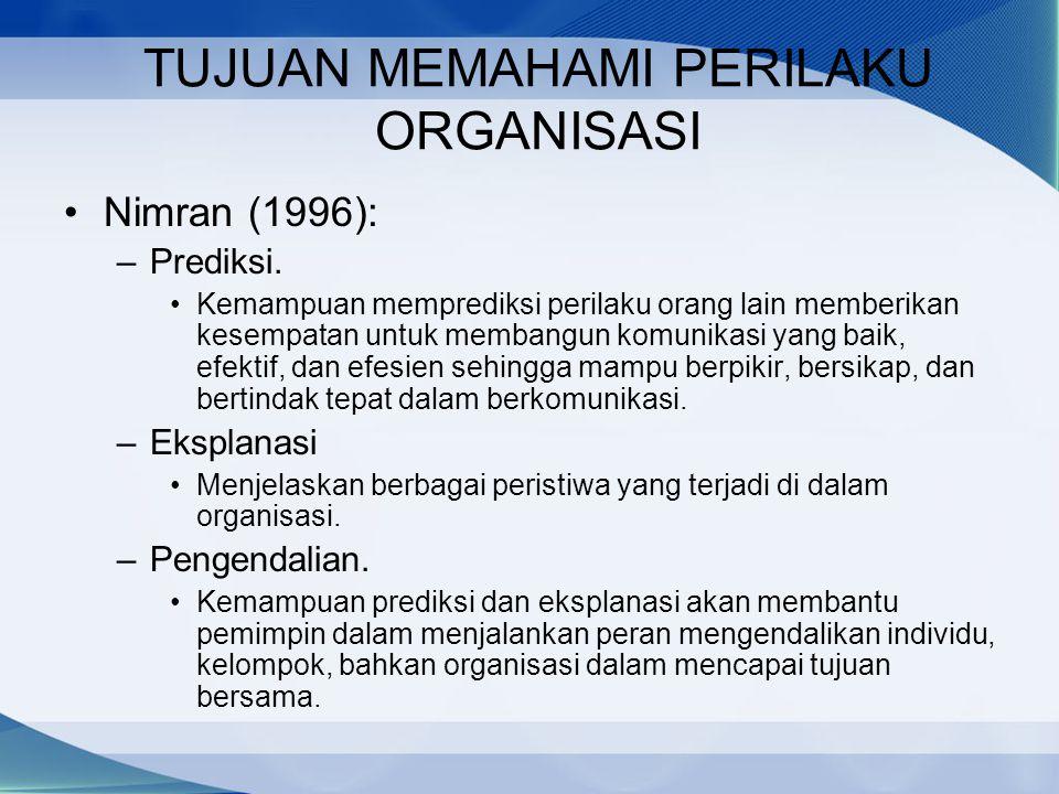 TUJUAN MEMAHAMI PERILAKU ORGANISASI Nimran (1996): –Prediksi. Kemampuan memprediksi perilaku orang lain memberikan kesempatan untuk membangun komunika