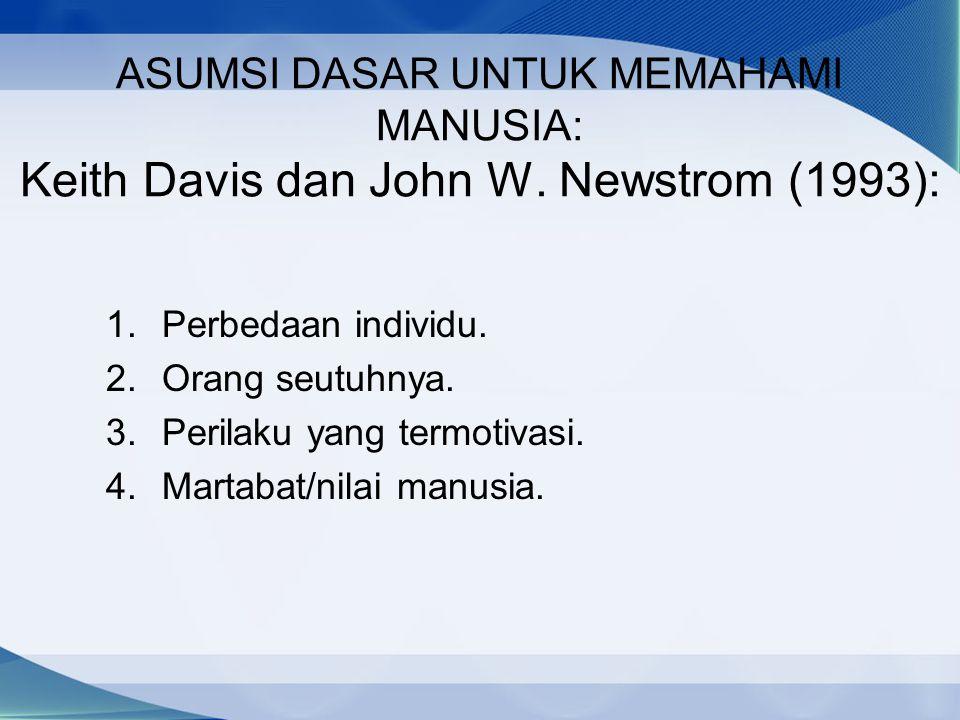 ASUMSI DASAR UNTUK MEMAHAMI MANUSIA: Keith Davis dan John W. Newstrom (1993): 1.Perbedaan individu. 2.Orang seutuhnya. 3.Perilaku yang termotivasi. 4.