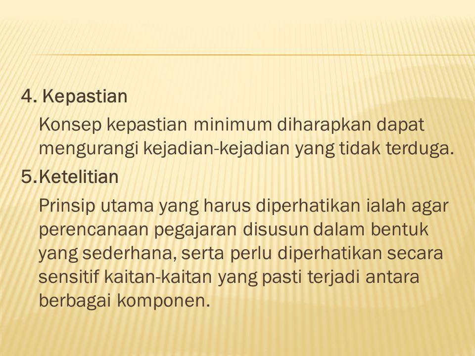 4. Kepastian Konsep kepastian minimum diharapkan dapat mengurangi kejadian-kejadian yang tidak terduga. 5.Ketelitian Prinsip utama yang harus diperhat