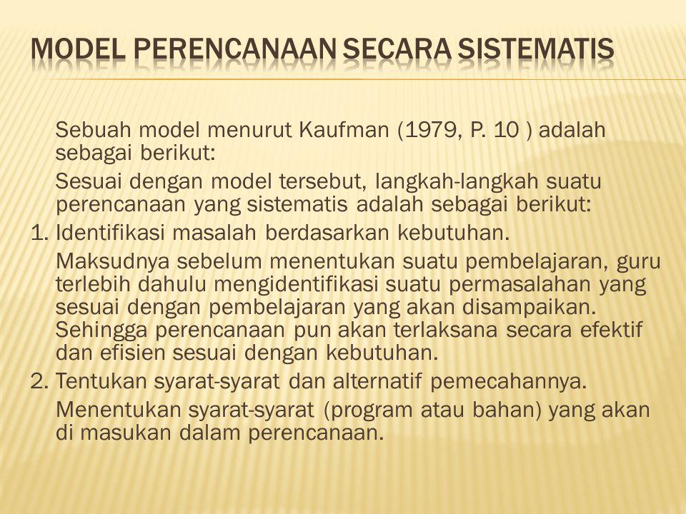 Sebuah model menurut Kaufman (1979, P.