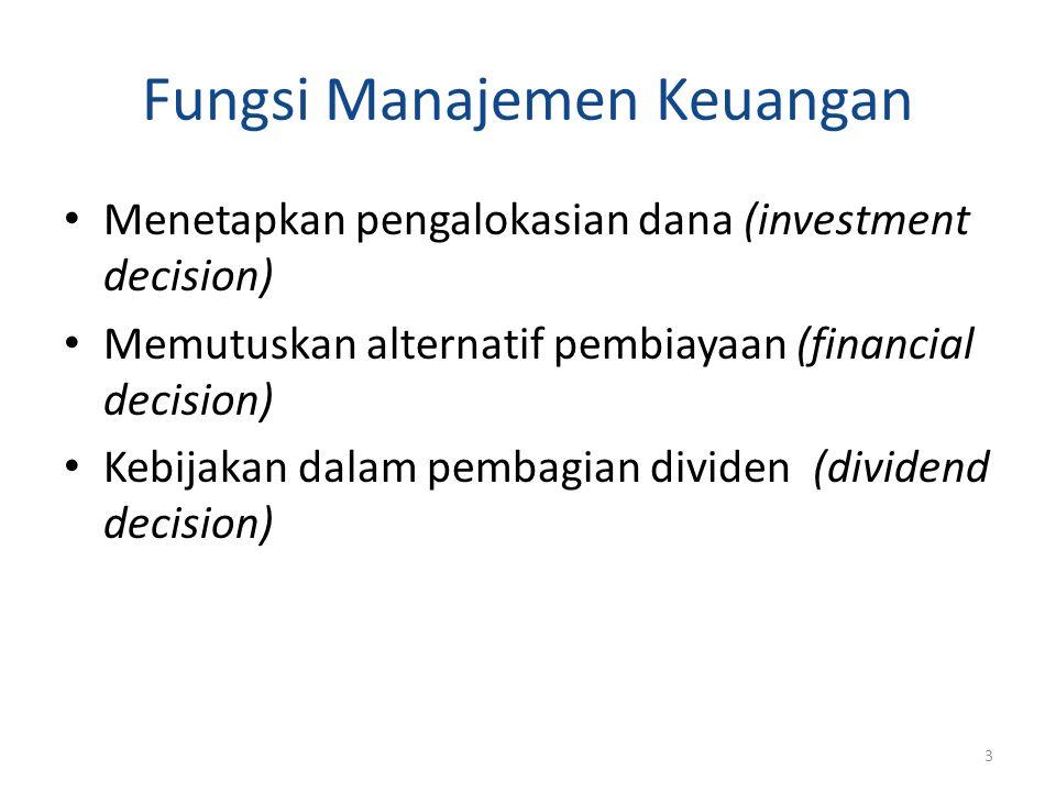 Fungsi Manajemen Keuangan Menetapkan pengalokasian dana (investment decision) Memutuskan alternatif pembiayaan (financial decision) Kebijakan dalam pe