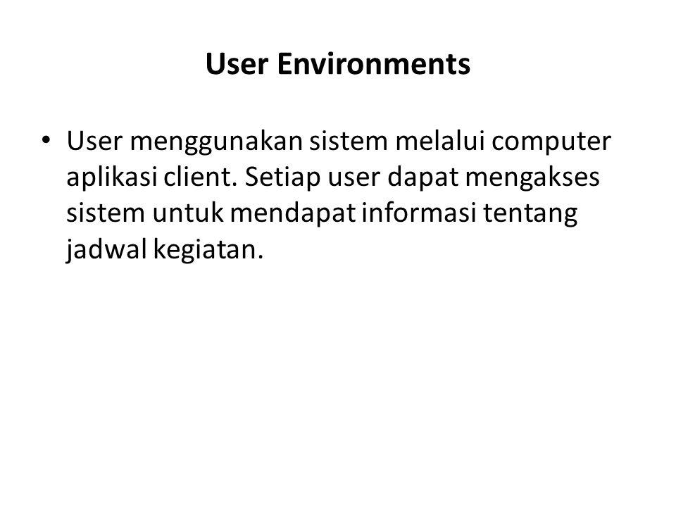 User Environments User menggunakan sistem melalui computer aplikasi client. Setiap user dapat mengakses sistem untuk mendapat informasi tentang jadwal