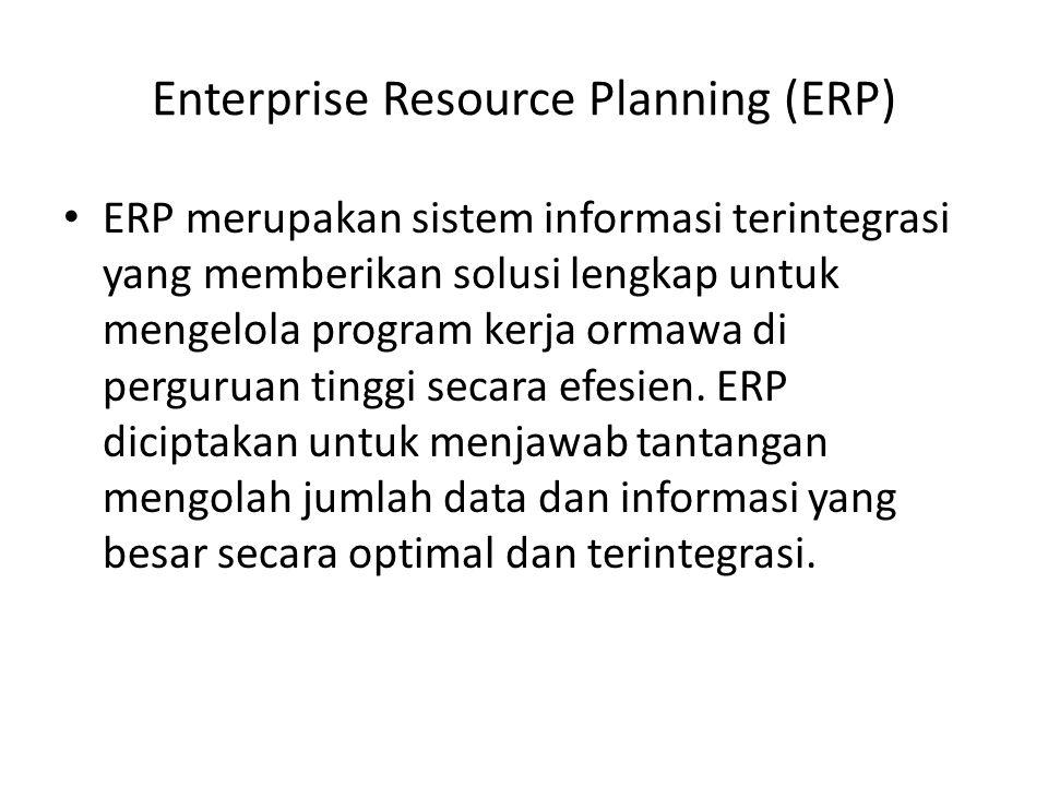 Enterprise Resource Planning (ERP) ERP merupakan sistem informasi terintegrasi yang memberikan solusi lengkap untuk mengelola program kerja ormawa di