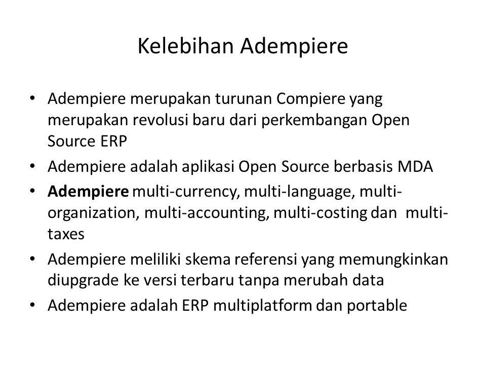 Kelebihan Adempiere Adempiere merupakan turunan Compiere yang merupakan revolusi baru dari perkembangan Open Source ERP Adempiere adalah aplikasi Open