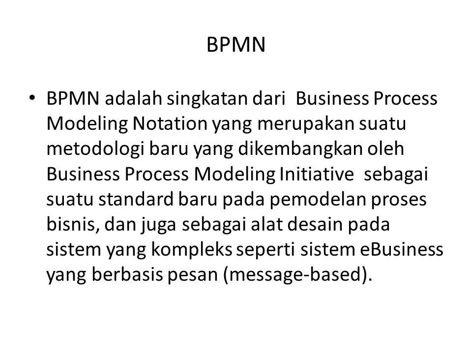 BPMN BPMN adalah singkatan dari Business Process Modeling Notation yang merupakan suatu metodologi baru yang dikembangkan oleh Business Process Modeli