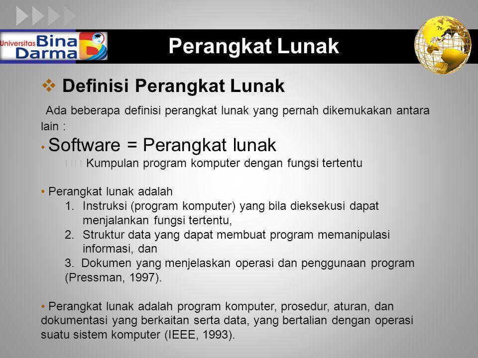 LOGO Perangkat Lunak  Definisi Perangkat Lunak Ada beberapa definisi perangkat lunak yang pernah dikemukakan antara lain : Software = Perangkat lunak