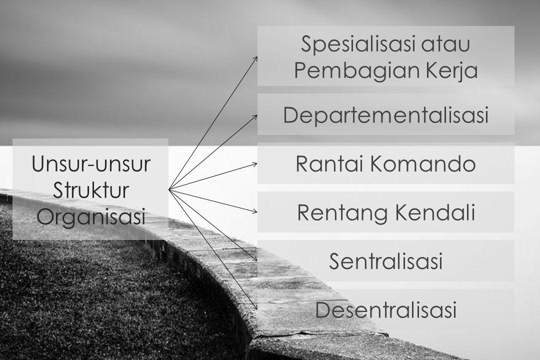 Unsur-unsur Struktur Organisasi Spesialisasi atau Pembagian Kerja Departementalisasi Rantai Komando Rentang Kendali Sentralisasi Desentralisasi