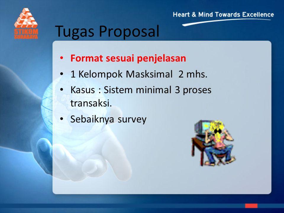 Tugas Proposal Format sesuai penjelasan 1 Kelompok Masksimal 2 mhs.